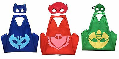 Superhero PJ Masks Kids Cape & Mask Costume Party Set Gekko Owlette Catboy