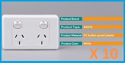 10 pieces 10 Amp Double Power Point Electrical Wall Socket GPO 240V White SAA