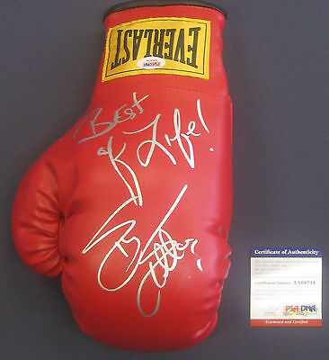 Sylvester Stallone Rocky Signed With Inscription Boxing Glove Psa Dna # Aa64744