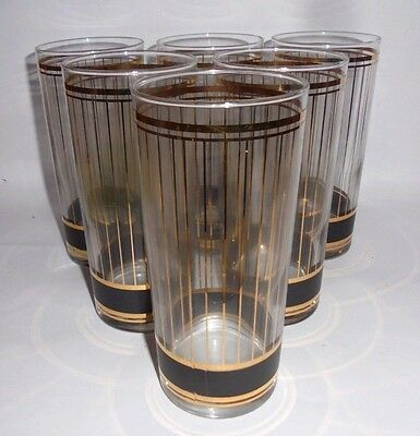 "Culver Devon Bloack Six 6-1/8""  Highball Glasses"