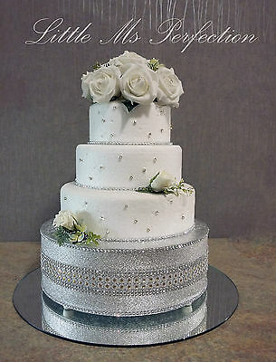 """Silver &  Gold Diamante Crystal Effect  Wedding Cake Stand Sparkly 10""""-22"""""""