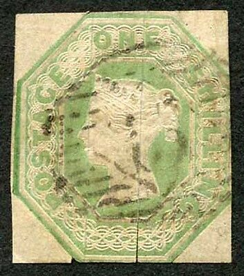 SG55 1/- Green Embossed Fine Used  (split silk threads) cat 1000 pounds