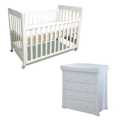 Childcare Cot Change Table Mattress Package White Crib Baby Bed White