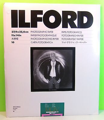 ILFORD 11 X 14 INCH Glossy Brilliant Photographic Paper 10 Sheets New
