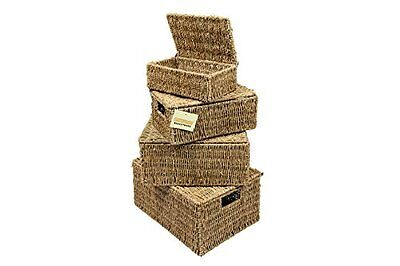 Woodluv Set of 4 Seagrass Storage Boxes Basket With Lids