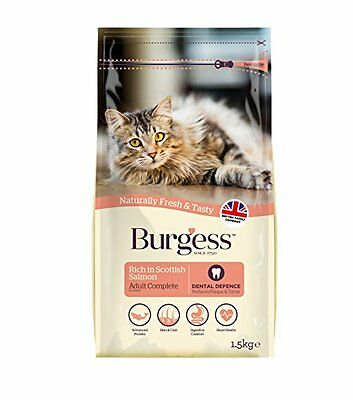 Burgess Adult Cat Food Rich in Scottish Salmon 1.5kg (pack of 2)