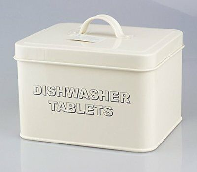 Vintage Retro Style Dishwasher Tablets Tin Storage Box In Cream Colour