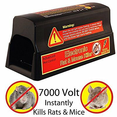 Home Guard Electronic Rat Killer 7000 Volt 3 Plate Stainless Steel Trap / Pest C