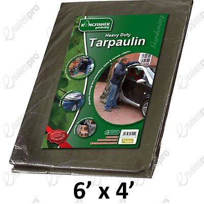 Heavy Duty Tarpaulin 1.8m (6ft) x 1.2m (4ft) 100gsm Kingfisher
