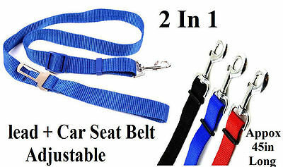 Adjustable Nylon Dog Pet Car Safety Seat Belt + Strong Dog Lead 2 in 1 UK