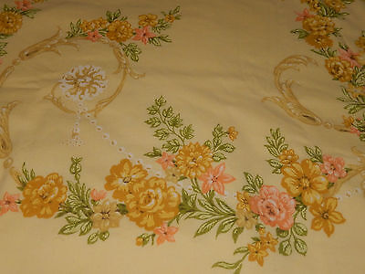 Vintage Tastemaker Yellow Roses And Flowers Double Flat Sheet & 2 Pillowcases