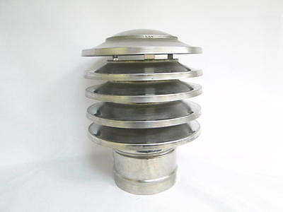 Chimney Cowl Stainless Steel Static Woodburning Stove Chimney Hat 150mm diameter