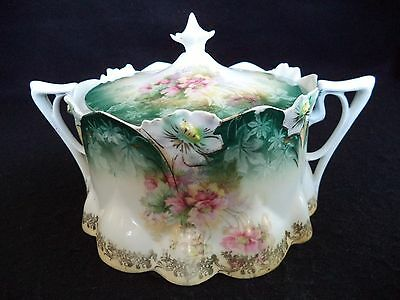 RS Prussia china biscuit barrel cracker jar lily mold 517 pink flowers blue rim