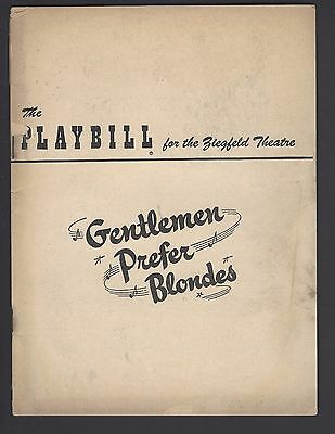 Gentlemen Prefer Blondes Carol Channing Playbill Broadway Ziegfeld Theatre 1951