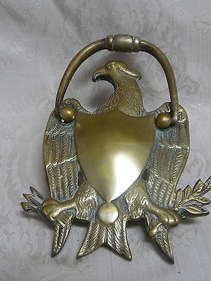 Antique Vintage Solid Brass American Bald Eagle Door Knocker w/ Hardware 7 3/4""