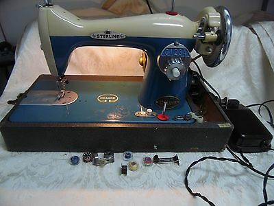 Vintage Japan Sterling Deluxe Blue & White Sewing Machine w/Case & Attachments