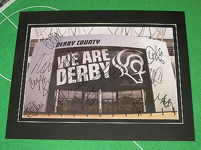 Derby County FC Mounted Stadium Photograph Signed x 13 2016/17 1st Team Squad