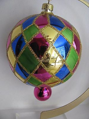 Radko  Vgt Large   HARLEQUIN BALL  Ornament   gold,pink,blue and green