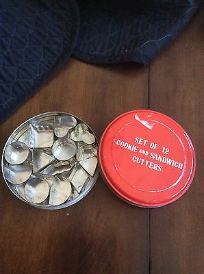 Set of 12 Vintage Metal Cookie and Sandwich Cutters in Tin