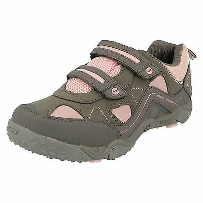 Girls Hi Tec Hot Grey/candy Riptape Strap Walking Shoe Style - Tt Ez Sport Jr