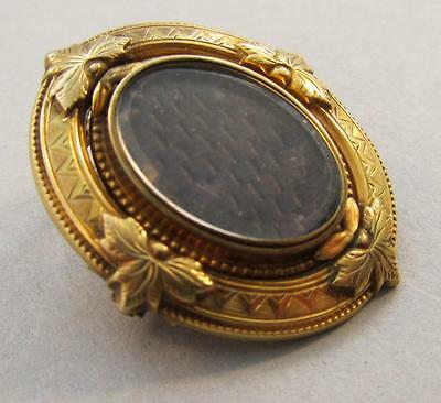Antique 14k Gold Mourning Brooch Pendant Hair Jewelry
