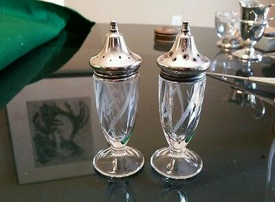 2 Vintage Antique Salt & Pepper Shakers Etched Cut Glass w/ Sterling Silver Lids
