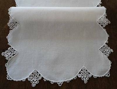 Vintage Set Linen Table Runner Napkins Irish Crochet Lace Daisy Edge White