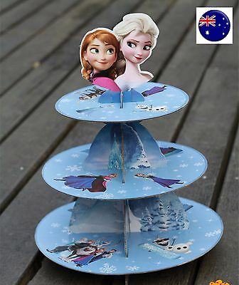 FROZEN Elsa Anna Birthday Party Cardboard Cupcake Cakes Stand 3 Tiers Toppers