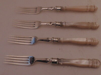 Antique Sterling Silver & Mother of Pearl Handle Forks Set of 4 London 1896