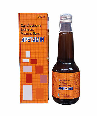 Apetamin Cyproheptadine Lysine and Vitamins Syrup 6.76 Fl oz Supplement Energy