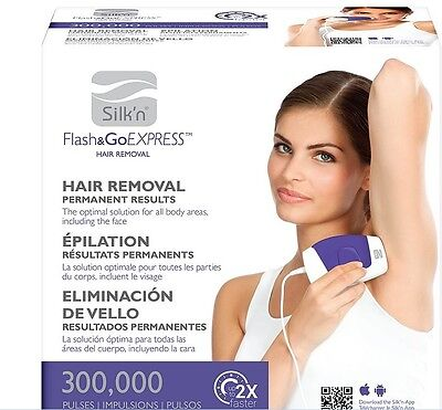 Silk'n Flash & Go Express Hair Removal Device 300,000 flashes face & body New