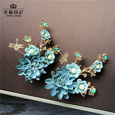 One Pair Artificial Flowers Headdress Hair Accessory Formal Bridal Head Pieces
