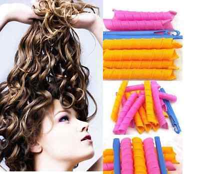 40PCS Stretchy DIY Magic Hair Curlers Leverage Formers Spiral Rollers Styling AU