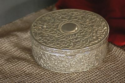 Old Silver Plated Metal Jewelry Box …beautiful blue velvet lining