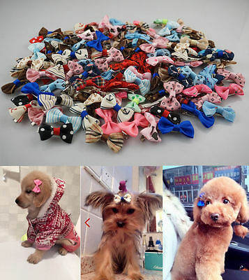 HOT 4-100pcs Pet Dog Cat Print Hair Bow Hair Clips Grooming Accessorie