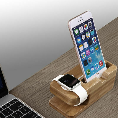 Charging Dock Bamboo Wood Charge Station Cradle Holder For Apple Watch iPhone US