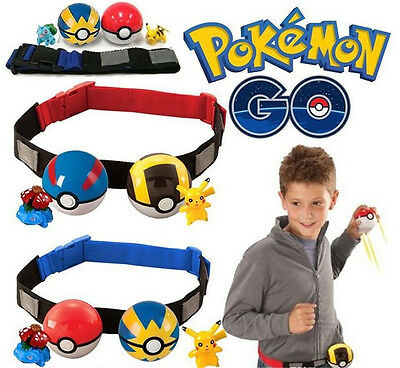 Pokemon Clip Carry Kids Adjustable Belt|+Poke Ball+Figures Play Game Xmas Gifts