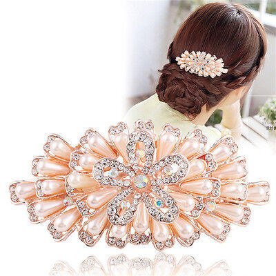 Women's Crystal Pearl Flower Barrette Hair Clips Hairpin Bobby Pins Accessories