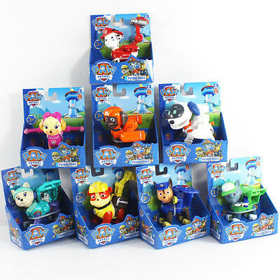 8Pcs Paw Patrol Action Figures Backpack Shield Badge Projectile Kids Toy 3.5''