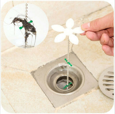 Bathroom Shower Drain Wig Chain Cleaner Hair Clog Remover Cleaning Tools 2X