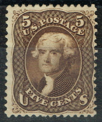 USA 1861-66 5c Red Brown Jefferson #75 Fine & Very Fresh Unused No Faults