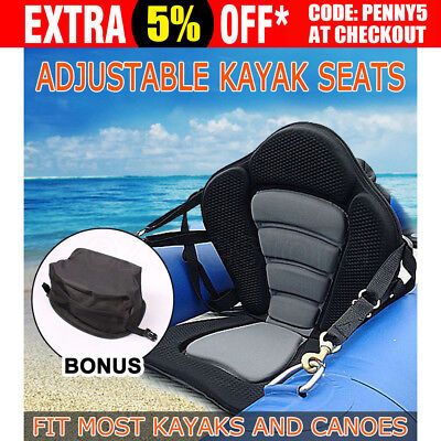 Deluxe Padded Kayak Canoe Marine Seat Backrest Straps Brass Snap Hooks Adjust AU