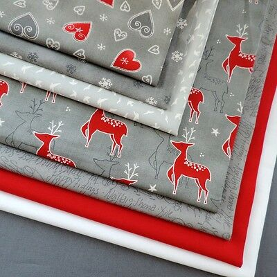 MODA JOL Nordic Christmas Grey Red Reindeer Snowflakes Hearts 100% Cotton Fabric