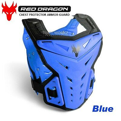 New RED DRAGON Blue Motorcycle Motocross Vest Chest Protector Body Armor Guard