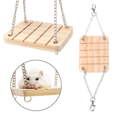 Pet Hamster Toys Wooden Swing Seesaw Rat Mouse Harness Parrot Hanging Suspension