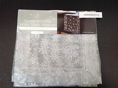 Christmas Silver Grey Snowflake Table Runner Cloth Decoration Glitter Sparkle