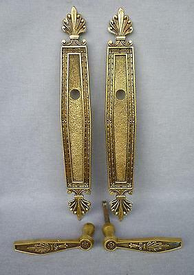 Antique french door handles set, knob early 1900's bronze mansion castle