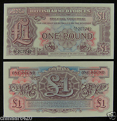 British United Kingdom Armed Forces Note 1 Pound 2nd Series UNC