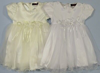 Baby Babies White Cream Wedding Dress Christening Flower Girls Party Pageant