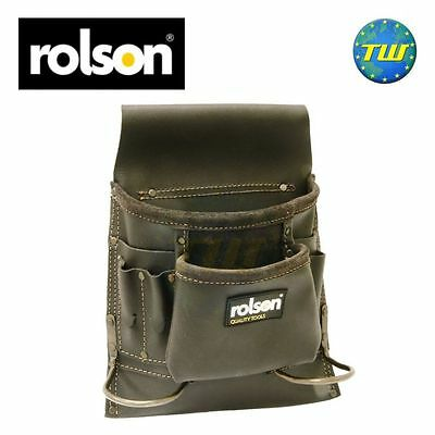 Rolson 8 Pocket Oil Tanned Leather Pouch Tool Belt Double Hammer Loop Holder